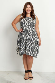 Ivory Damask Sleeveless Plus Size Dress
