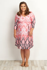 Pink Paisley Wrap Plus Size Maternity Dress
