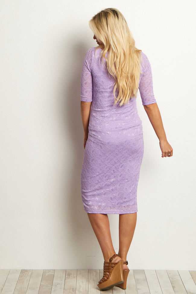 Purple Fitted Lace Maternity Dress