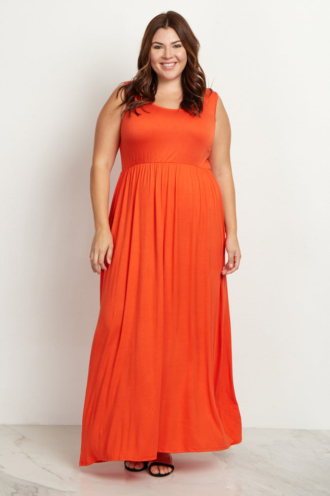Orange Basic Sleeveless Plus Maternity Maxi Dress