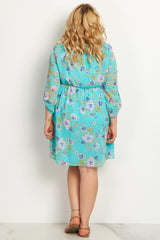Jade Floral Chiffon Plus Size Maternity Dress