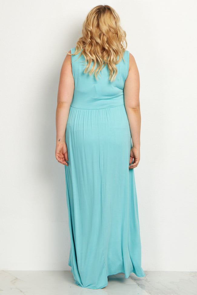 Aqua Basic Sleeveless Plus Maternity Maxi Dress