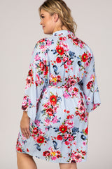Light Blue Floral Plus Delivery/Nursing Maternity Robe