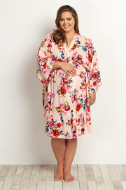 Light Pink Floral Delivery/Nursing Plus Maternity Robe