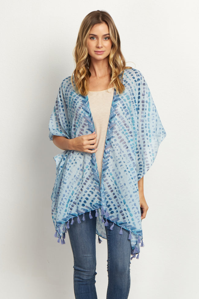 Teal Abstract Fringed Cover Up