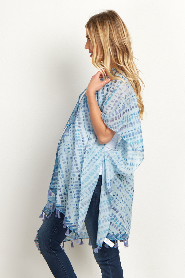 Teal Abstract Fringed Maternity Cover Up