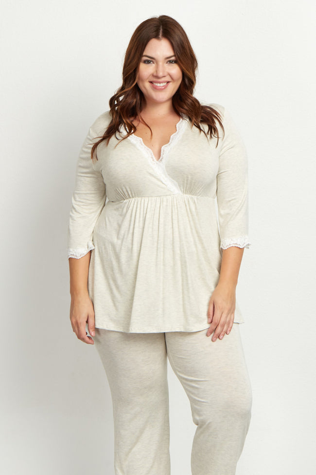 Beige Lace Trim Plus Maternity Pajama Top