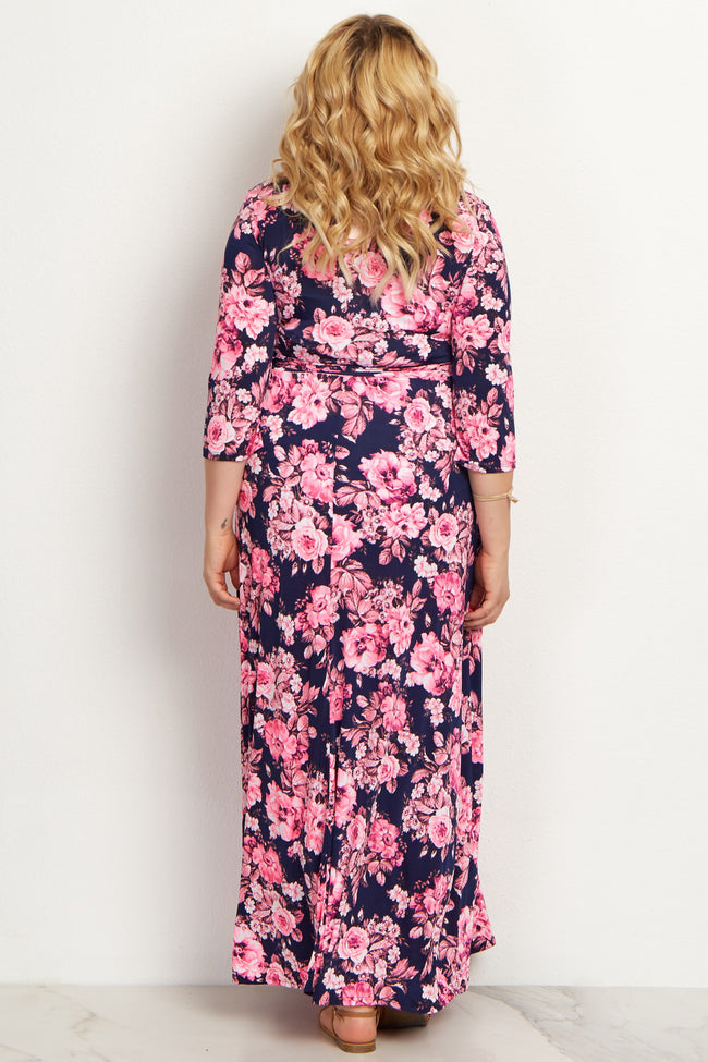 Pink Floral Draped Plus Maternity/Nursing Maxi Dress