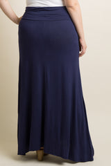 Navy Blue Basic Plus Size Skirt