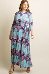 Pink Damask Draped Plus Maternity/Nursing Maxi Dress