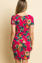 Fuchsia Floral Fitted Maternity Dress