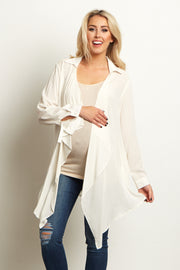Ivory Lace Accent Open Maternity Cardigan/Blouse