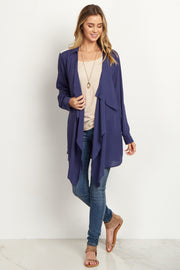 Navy Blue Lace Accent Cardigan