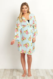 Mint Green Floral Rose Delivery/Nursing Maternity Robe