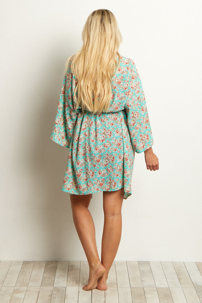 Mint Green Floral Delivery/Nursing Maternity Robe