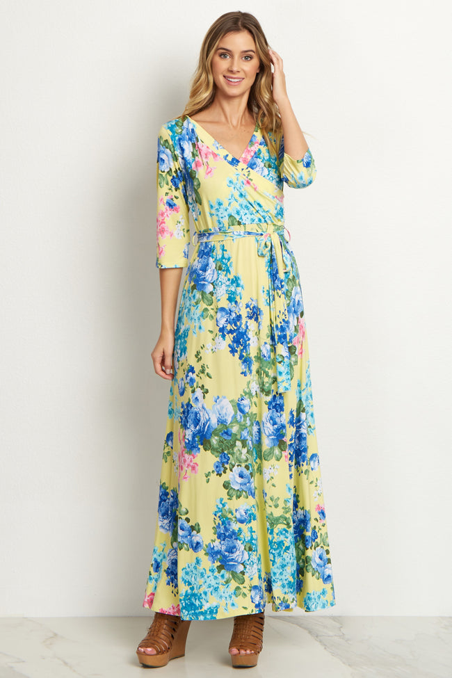 Yellow Floral Sash Tie Dress