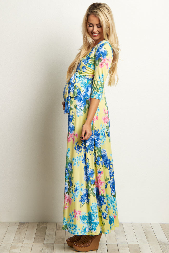 Yellow Floral Sash Tie Maternity/Nursing Dress