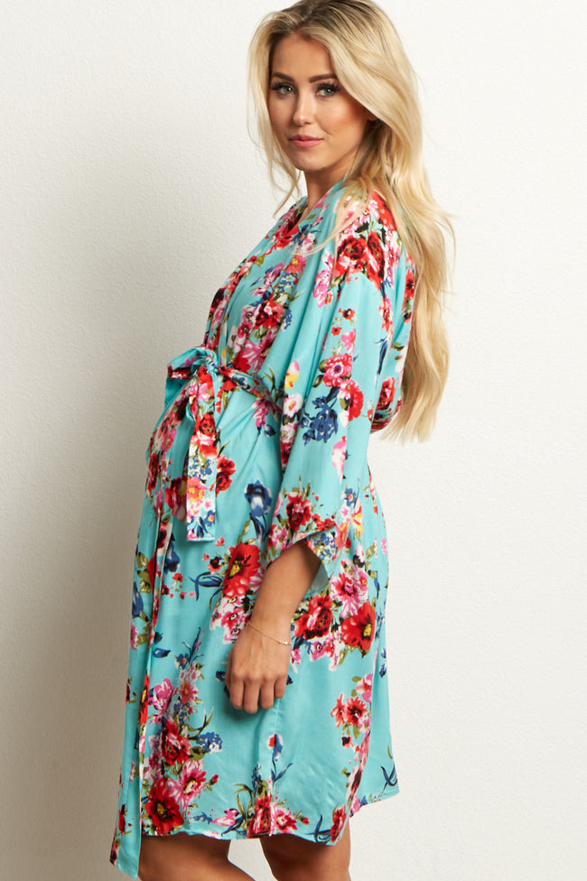 Mint Floral Delivery/Nursing Maternity Robe