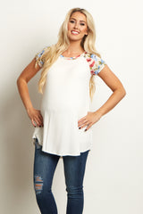 Mocha Floral Shoulder Maternity Top