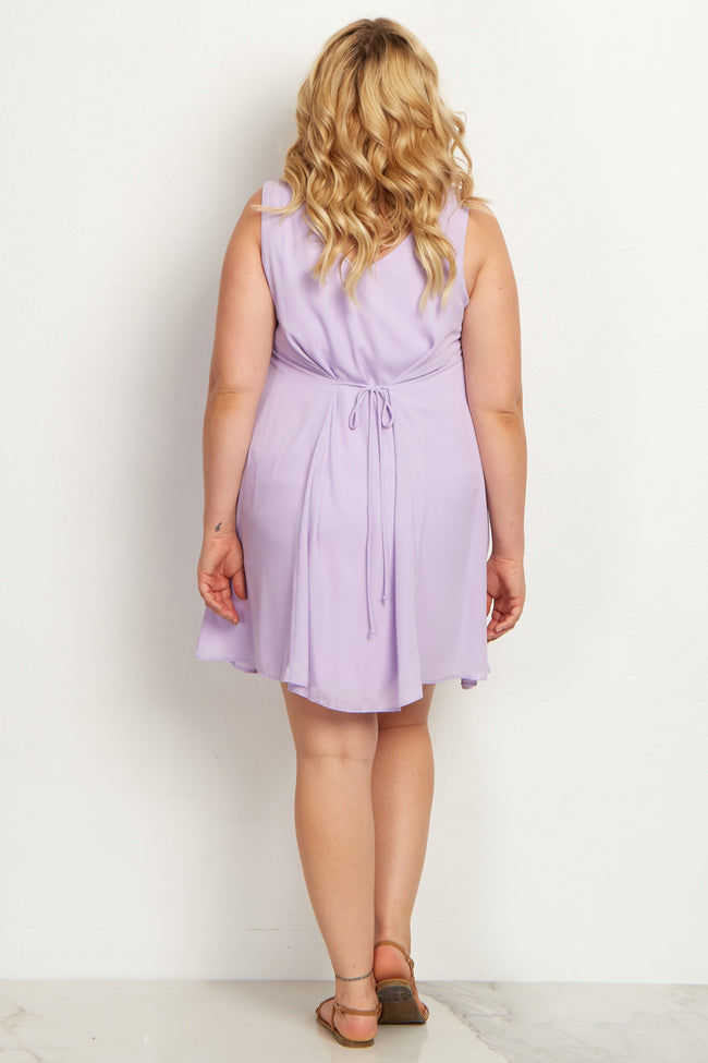 Lavender Basic Chiffon Plus Maternity Dress