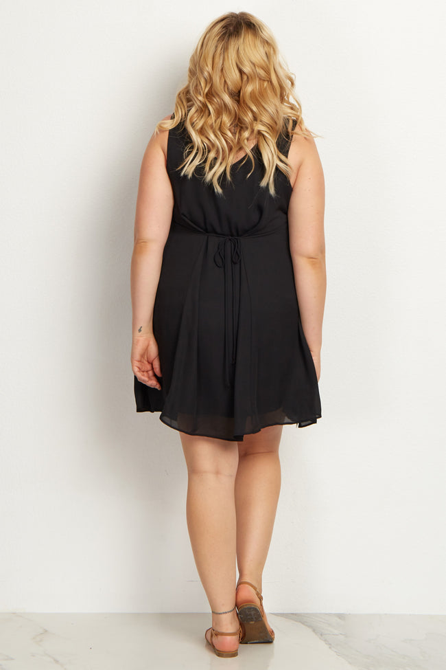 Black Basic Chiffon Plus Maternity Dress