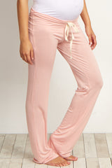 Light Pink Drawstring Maternity Pajama Pants