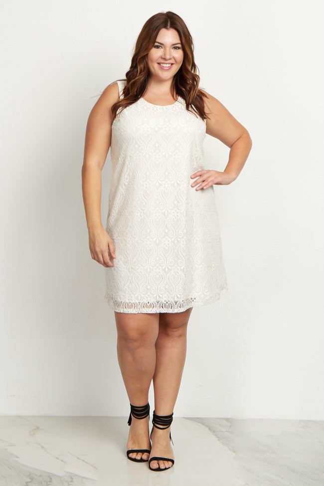 White Sleeveless Lace Plus Size Dress