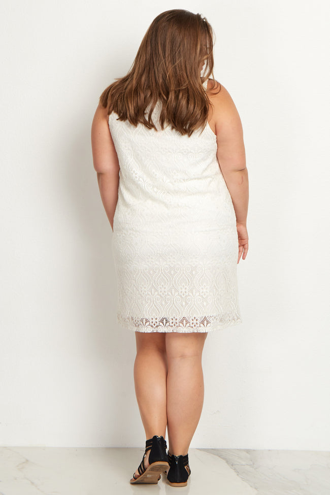 White Sleeveless Lace Plus Size Maternity Dress