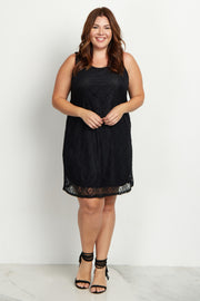 Black Sleeveless Lace Plus Size Dress