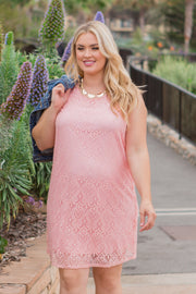 Pink Sleeveless Lace Plus Size Maternity Dress