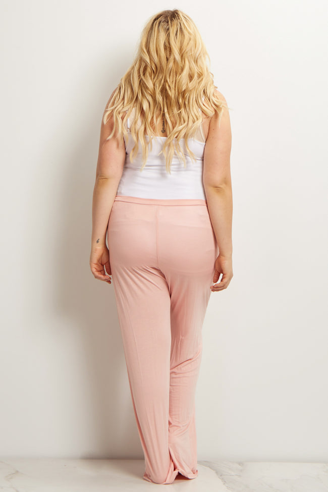 Pink Drawstring Plus Maternity Pajama Pants