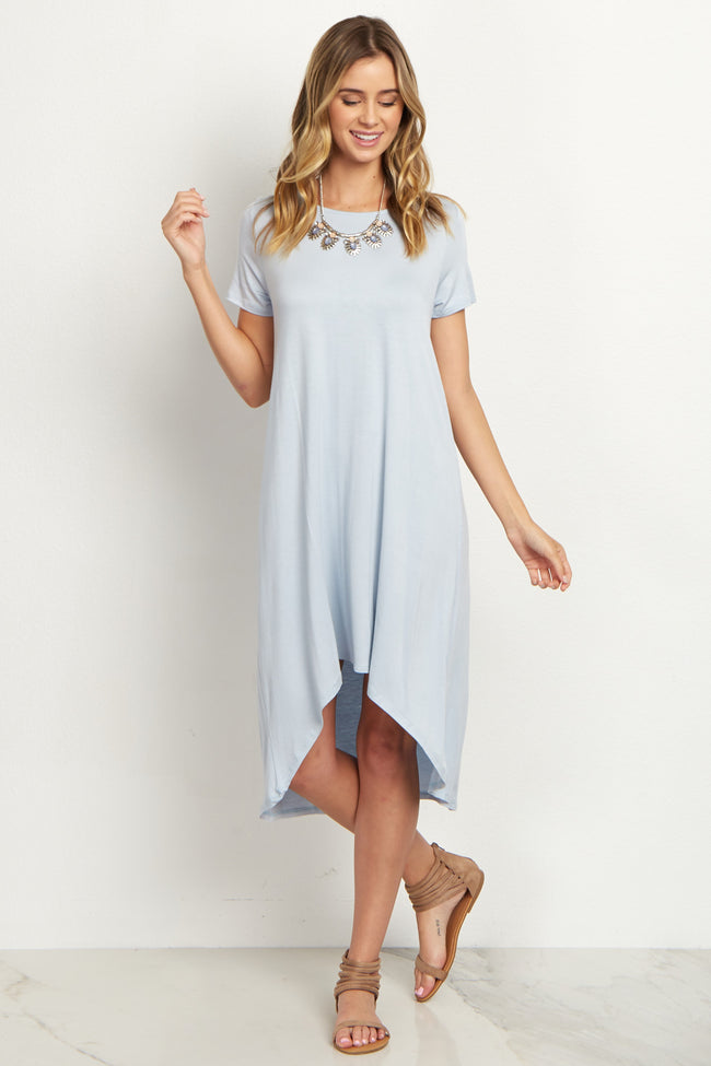 Light Blue Basic Hi-Low Dress