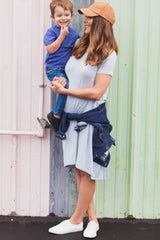 Light Blue Basic Hi-Low Maternity Dress
