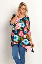 Black Floral Asymmetric Maternity Top
