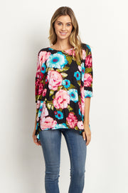 Black Floral Asymmetric Top