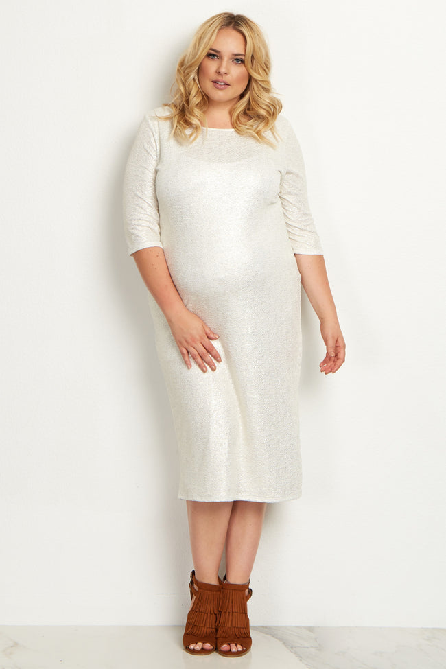 Ivory Shimmer Fitted Plus Size Maternity Dress