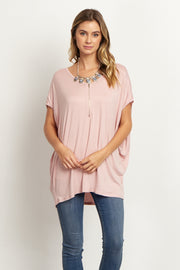 Mauve Zipper Front Short Sleeve Top