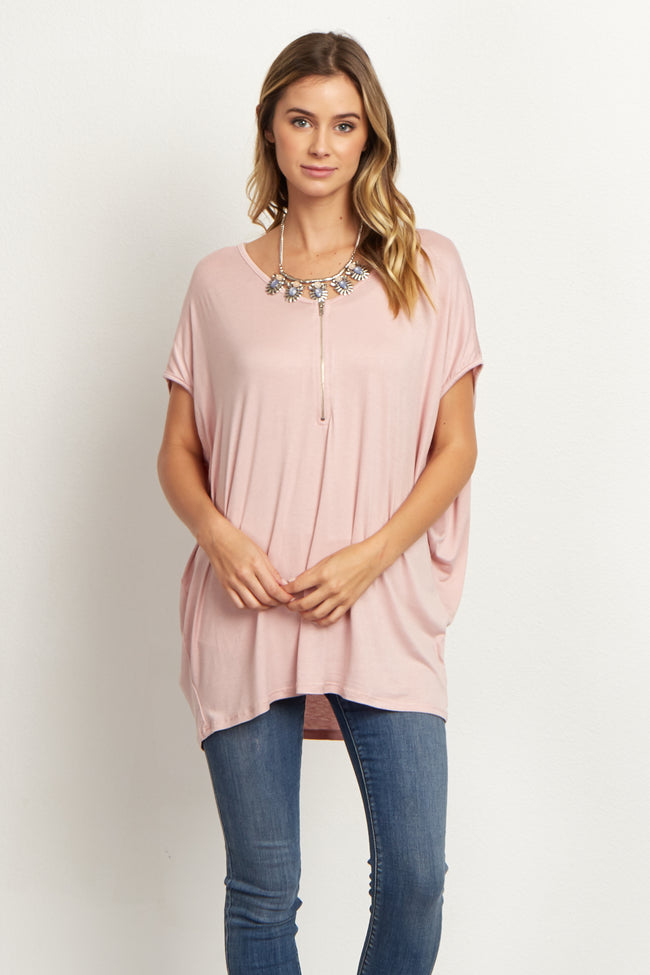 Dusty Pink Zipper Front Short Sleeve Maternity Top