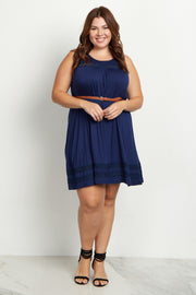 Navy Blue Lace Belted Plus Size Dress