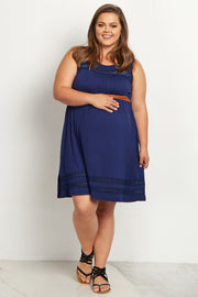 Navy Blue Lace Belted Plus Size Maternity Dress