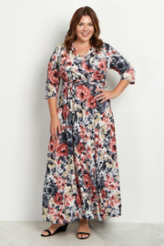 Pink Watercolor Plus Size Maxi Dress