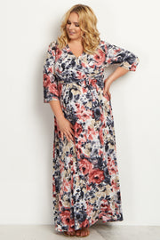 Pink Watercolor Floral Draped Plus Size Maternity Maxi Dress