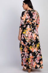 Black Floral Sash Tie Plus Maxi Dress