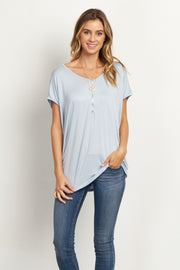 Light Blue Zipper Front Short Sleeve Top