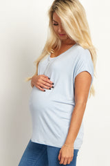 Light Blue Zipper Front Short Sleeve Maternity Top