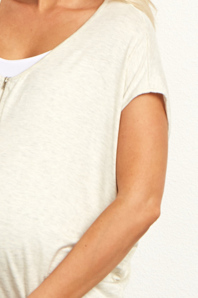 Beige Zipper Front Short Sleeve Maternity Top