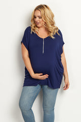 Navy Blue Zipper Front Plus Size Maternity Top