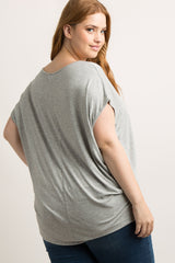 Grey Zipper Front Plus Top
