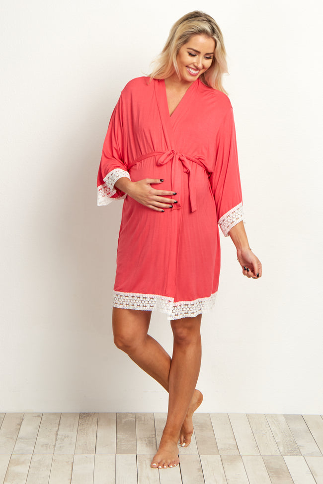 Salmon Lace Trim Delivery/Nursing Maternity Robe