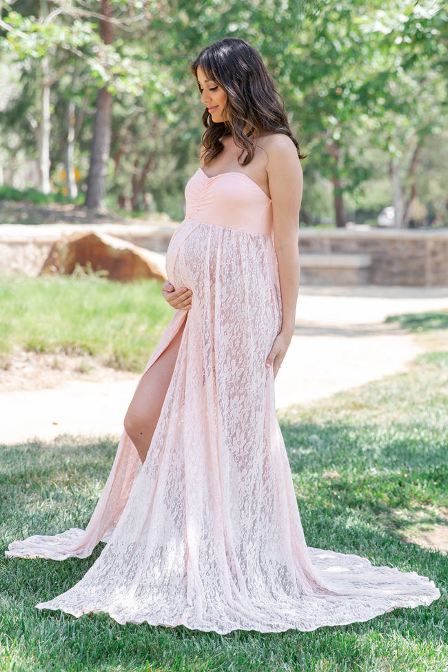photo shoot maternity maxi wrap gown 1219 Lace maternity dress